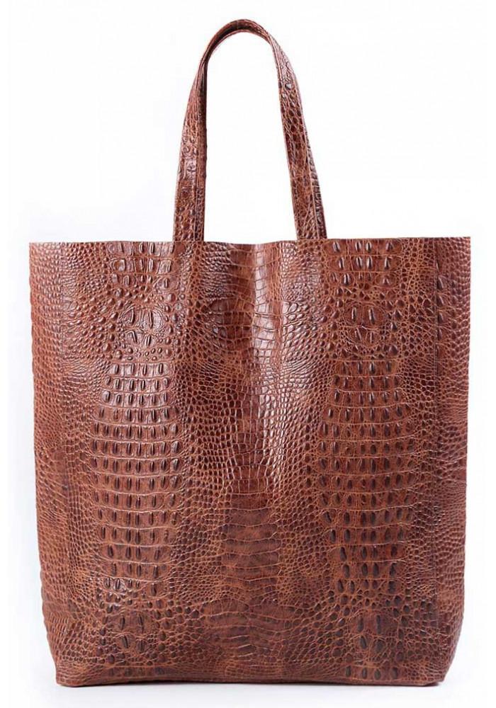 Женская кожаная сумка Poolparty Leather City Croco Brown