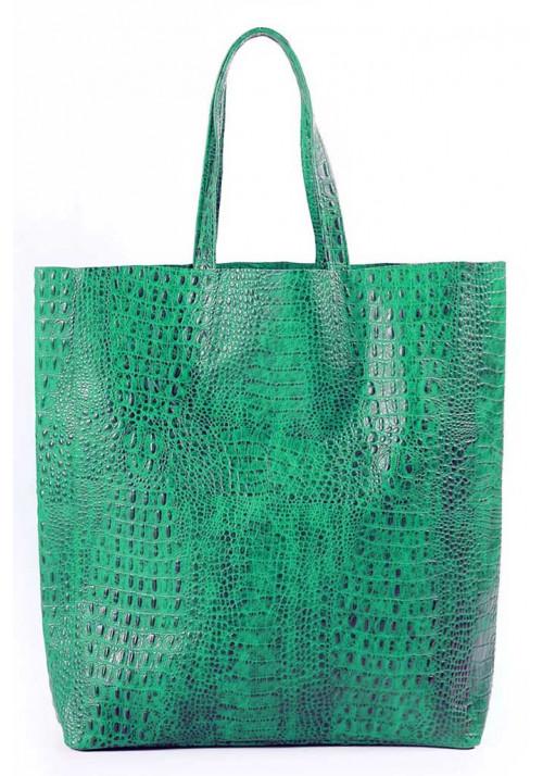 Женская кожаная сумка Poolparty Leather City Croco Green
