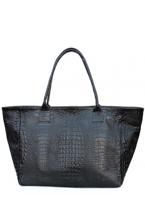 Кожаная сумка для женщины Poolparty Desire Croco Black