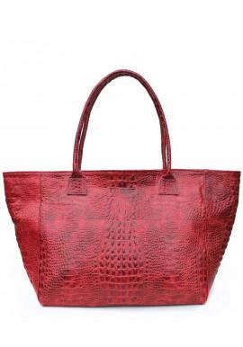 Фото Кожаная сумка для женщины Poolparty Desire Croco Red
