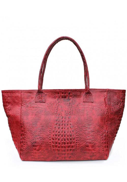 Кожаная сумка для женщины Poolparty Desire Croco Red