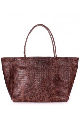 Фото Кожаная сумка для женщины Poolparty Desire Croco Brown