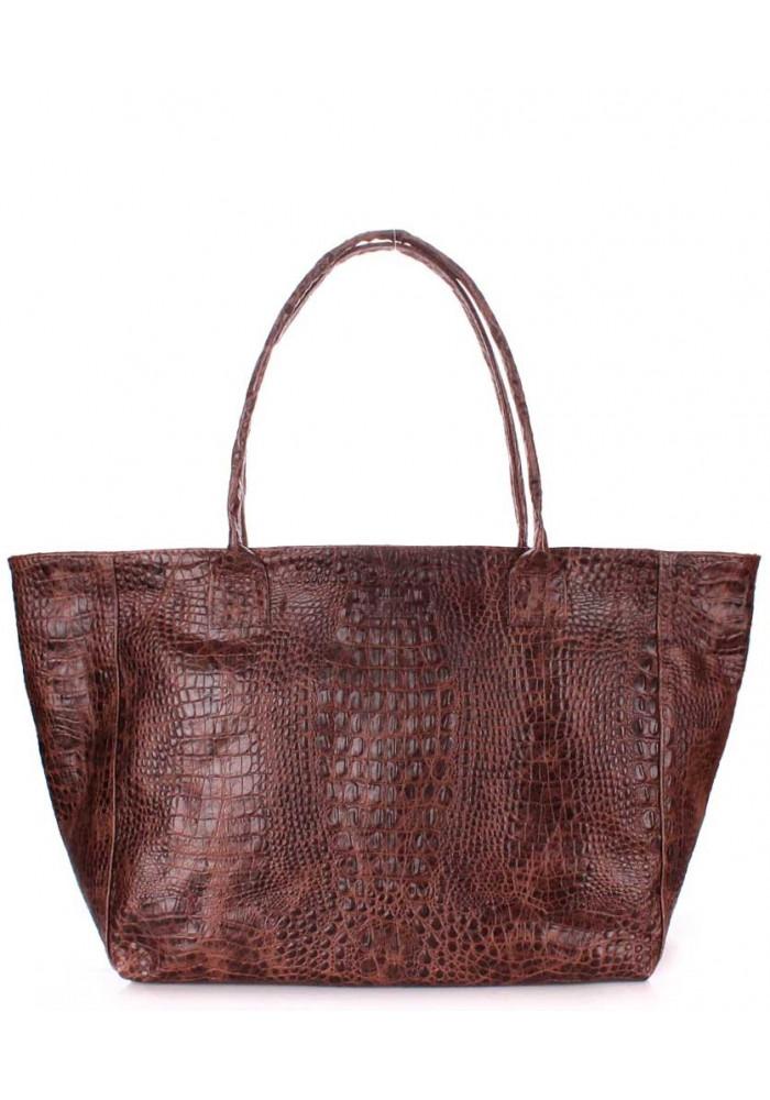 Кожаная сумка для женщины Poolparty Desire Croco Brown