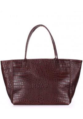 Фото Кожаная сумка для женщины Poolparty Desire Caiman Brown