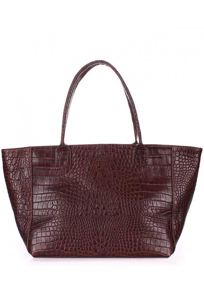 Кожаная сумка для женщины Poolparty Desire Caiman Brown