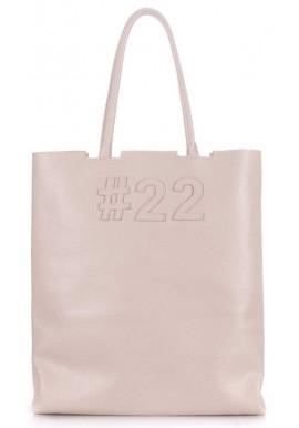 Фото Кожаная модная женская сумка Poolparty Leather Number 22 Beige