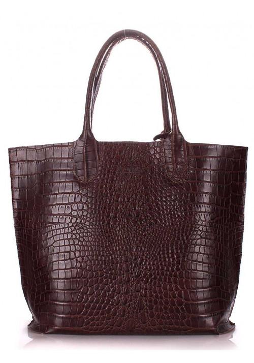 Кожаная модная женская сумка Poolparty Amphibia Brown