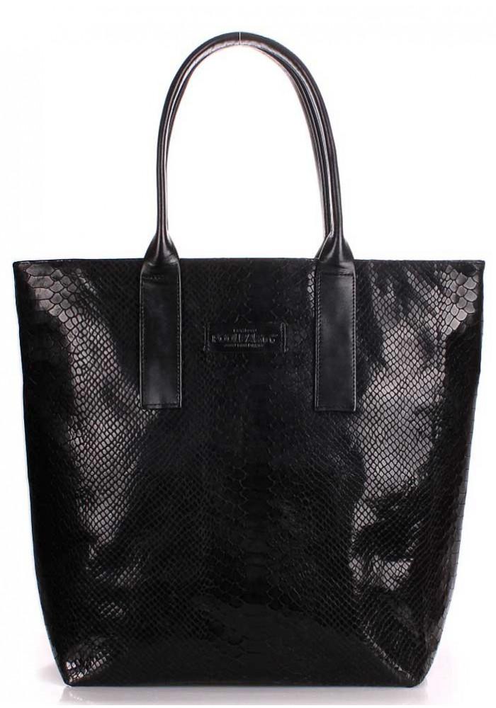 Кожаная модная женская сумка Poolparty Adore Snake Black