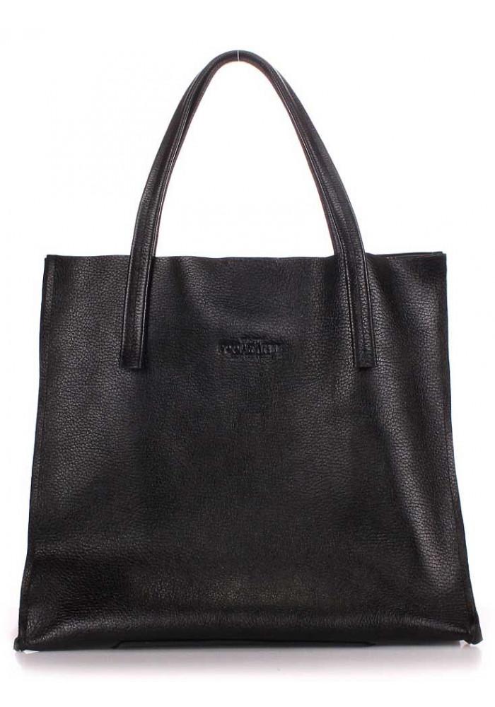 Кожаная модная женская сумка Poolparty Soho Versa Black