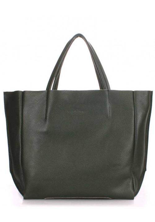 Кожаная модная женская сумка Poolparty Soho Khaki