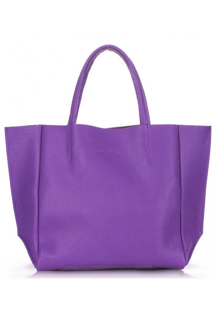 Кожаная модная женская сумка Poolparty Soho Violet
