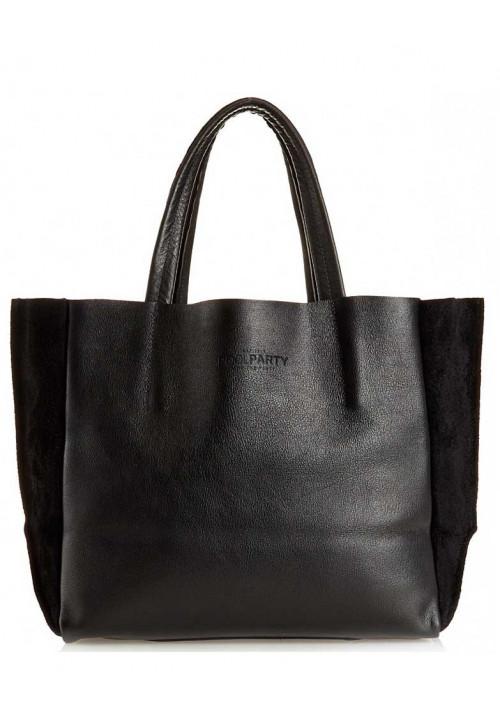 Кожаная модная женская сумка Poolparty Soho Black Velour