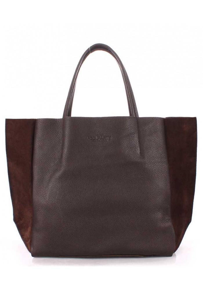 Кожаная модная женская сумка Poolparty Soho Brown Velour