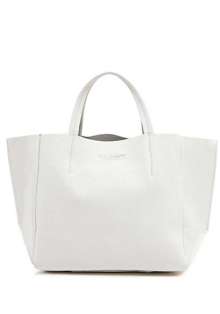 Кожаная модная женская сумка Poolparty Soho White