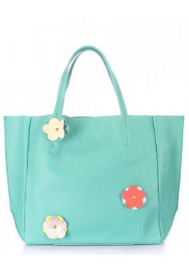 Фото Женская сумка кожа Poolparty Soho Flower Mint
