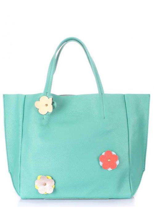 Женская сумка кожа Poolparty Soho Flower Mint