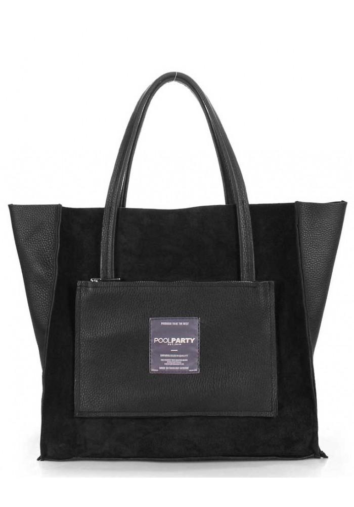 Двухсторонняя женская сумка кожа Poolparty Insideout Black Velour
