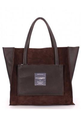 Фото Двухсторонняя женская сумка кожа Poolparty Insideout Brown Velour