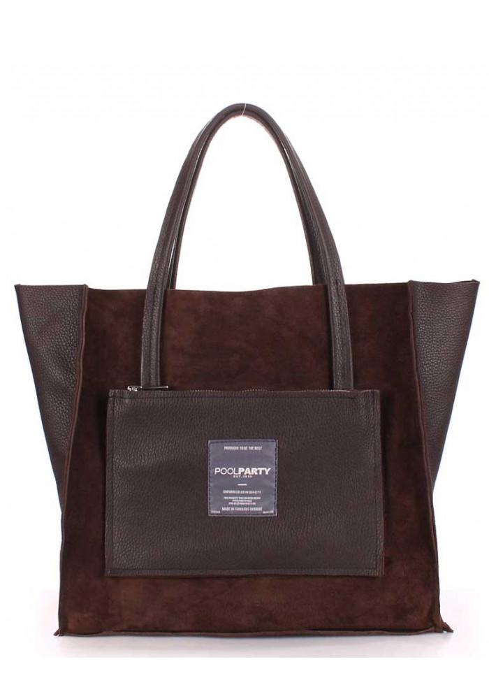 Двухсторонняя женская сумка кожа Poolparty Insideout Brown Velour