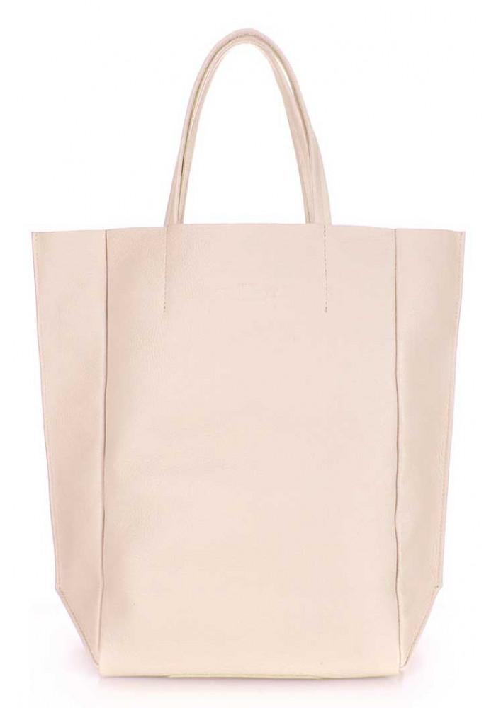 Кожаная брендовая женская сумка Poolparty Bigsoho Beige