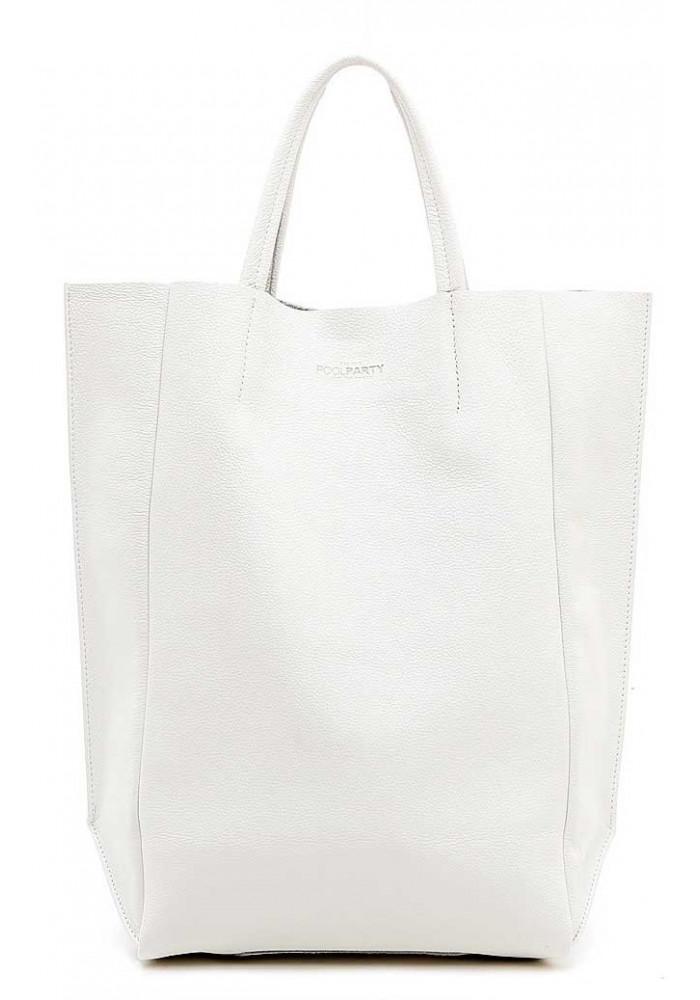 Кожаная брендовая женская сумка Poolparty Bigsoho White