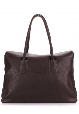 Фото Кожаная брендовая женская сумка Poolparty Sense Brown
