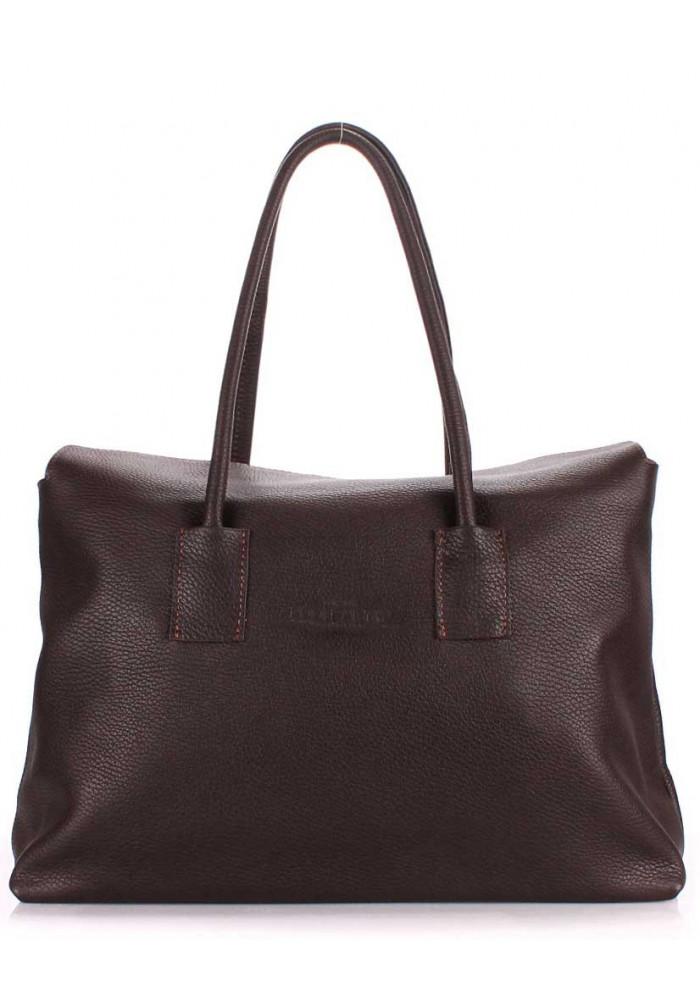 Кожаная брендовая женская сумка Poolparty Sense Brown