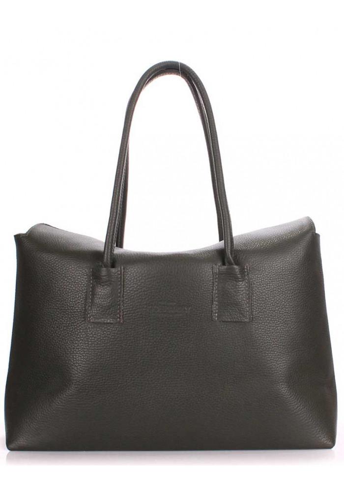 Кожаная брендовая женская сумка Poolparty Sense Khaki
