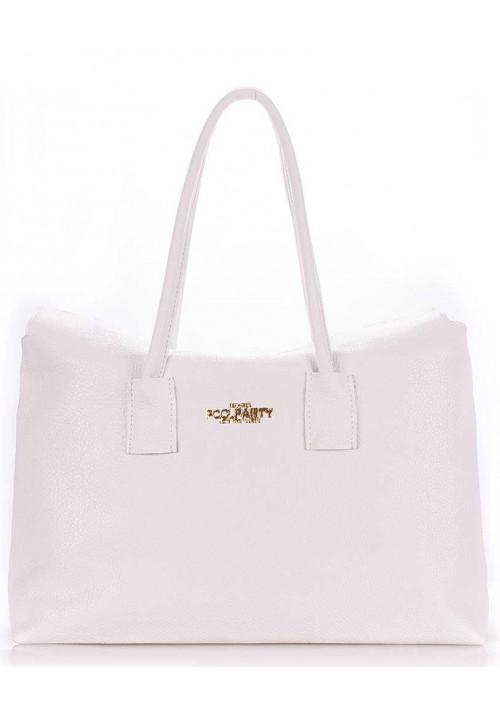 Кожаная брендовая женская сумка Poolparty Sense White