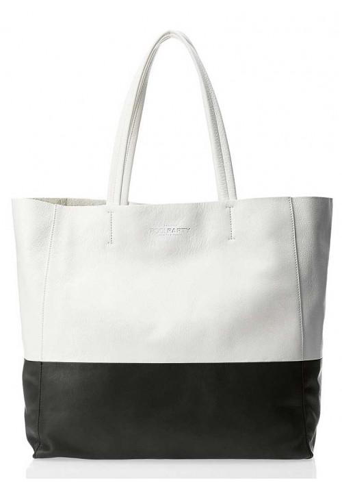 Кожаная брендовая женская сумка Poolparty Devine White Black