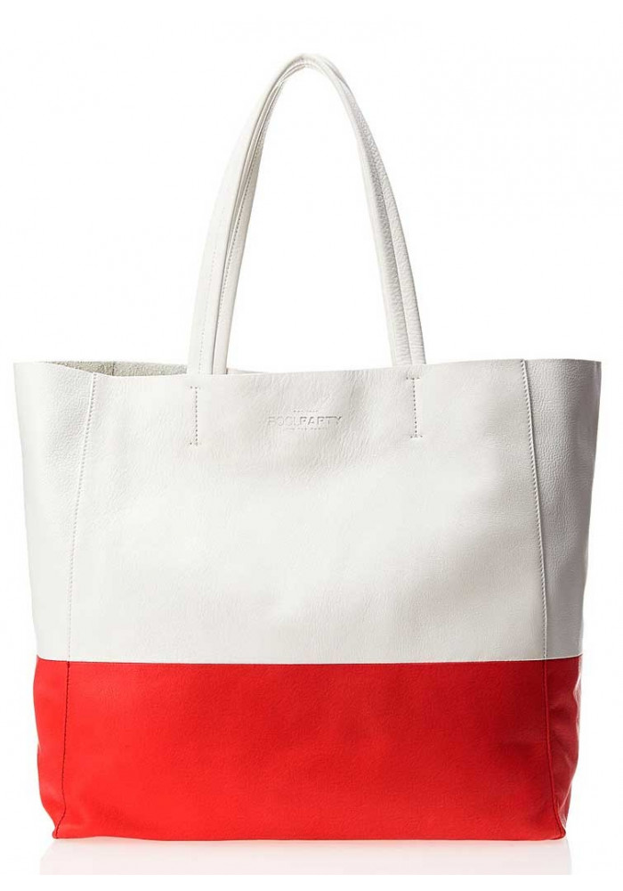 Кожаная брендовая женская сумка Poolparty Devine White Red