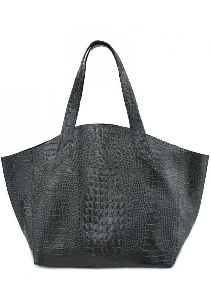 Стильная кожаная сумка Poolparty Fiore Crocodile Black