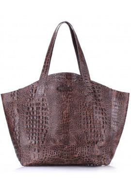 Фото Стильная кожаная сумка Poolparty Fiore Crocodile Brown