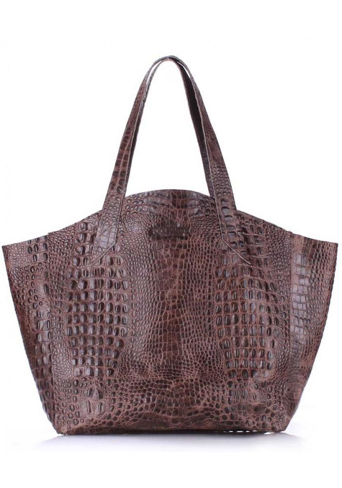 Стильная кожаная сумка Poolparty Fiore Crocodile Brown