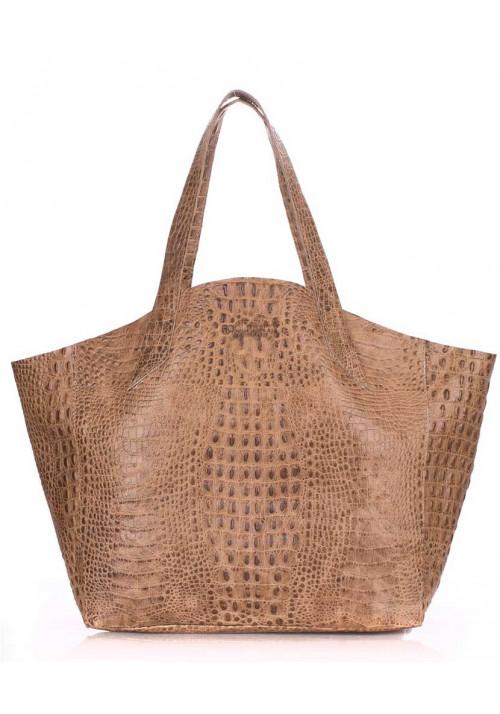 Стильная кожаная сумка Poolparty Fiore Crocodile Beige