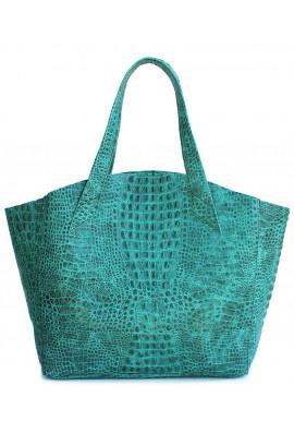 Фото Стильная кожаная сумка Poolparty Fiore Crocodile Green