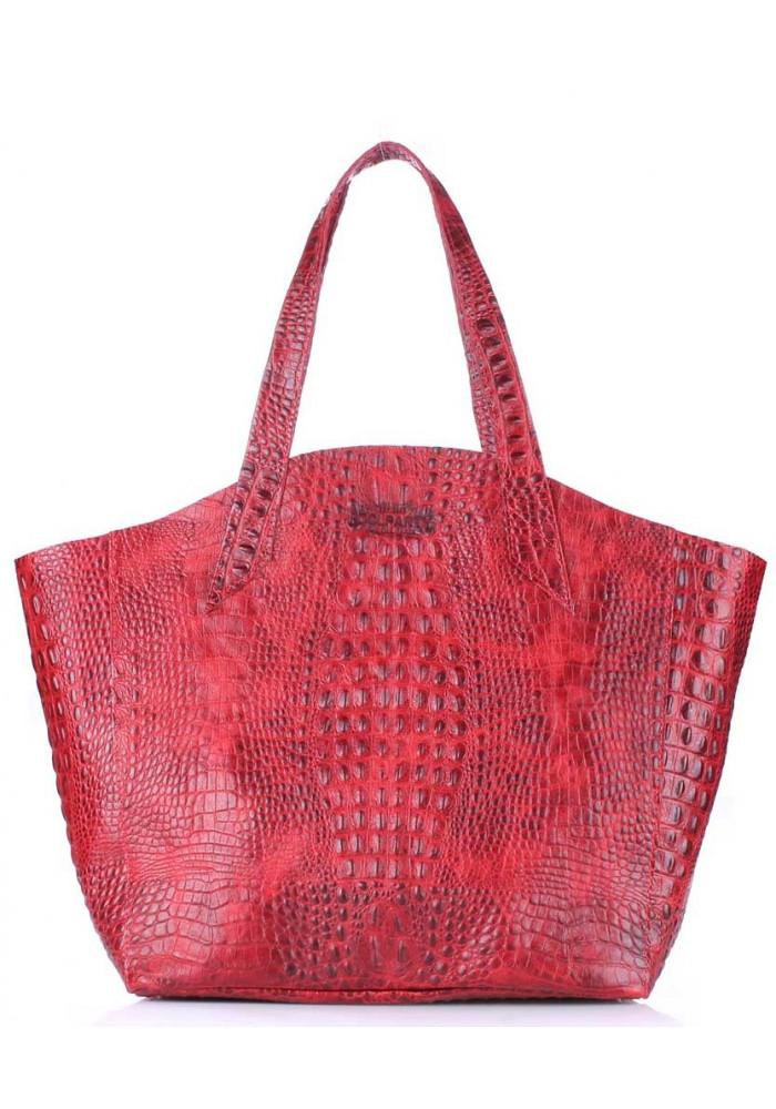 Стильная кожаная сумка Poolparty Fiore Crocodile Red