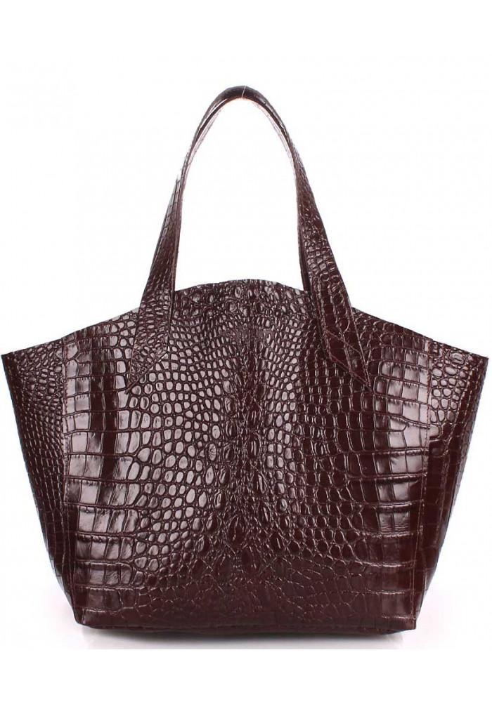 Стильная кожаная сумка Poolparty Fiore Caiman Brown