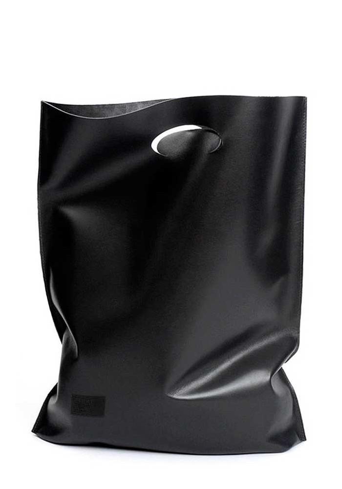 Стильная кожаная сумка Poolparty Shopper Black