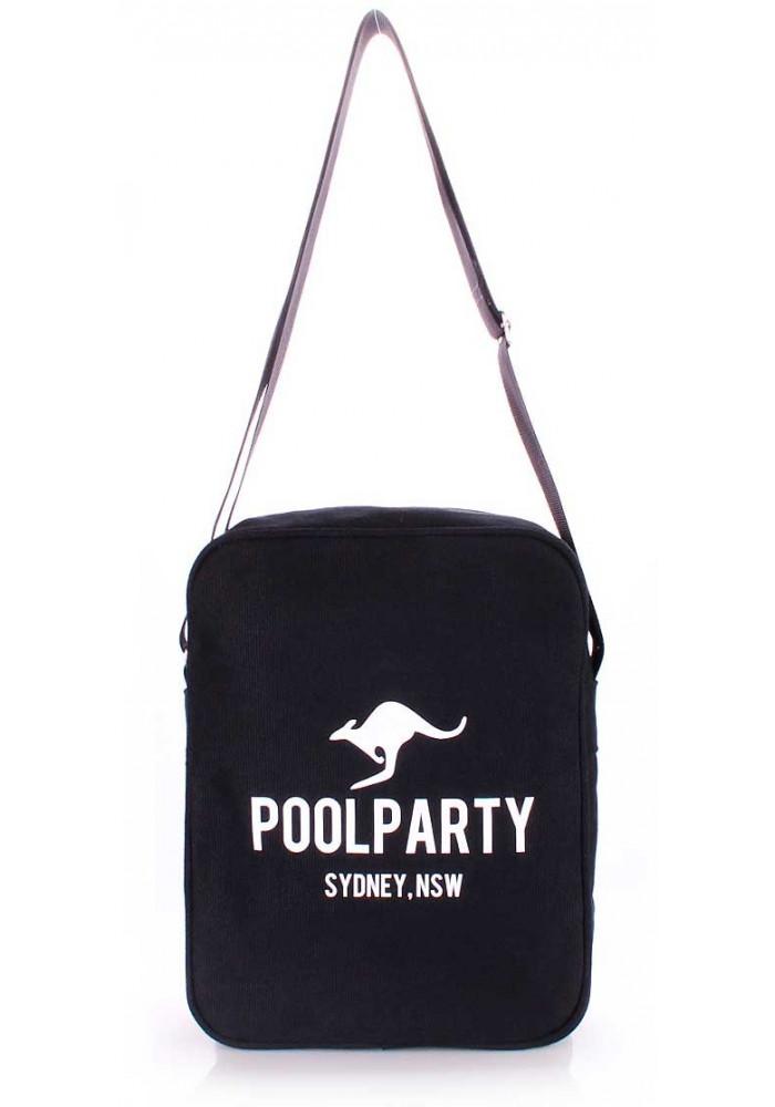 Мужская сумка через плечо Poolparty Pool-18 Black