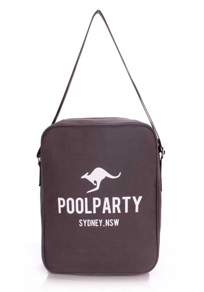 Мужская сумка через плечо Poolparty Pool-18 Grey