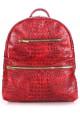 Женский кожаный рюкзак Poolparty Mini Bckpck Leather Croco Red - интернет магазин stunner.com.ua