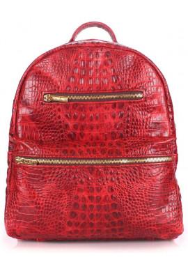 Фото Женский кожаный рюкзак Poolparty Mini Bckpck Leather Croco Red