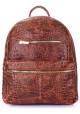 Женский кожаный рюкзак Poolparty Mini Bckpck Leather Croco Brown - интернет магазин stunner.com.ua