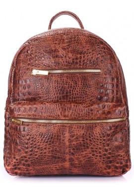Фото Женский кожаный рюкзак Poolparty Mini Bckpck Leather Croco Brown