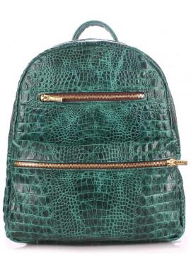 Фото Женский кожаный рюкзак Poolparty Mini Bckpck Leather Croco Green