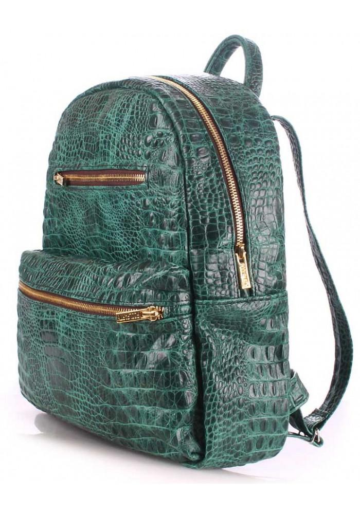 Женский кожаный рюкзак Poolparty Mini Bckpck Leather Croco Green, фото №2 - интернет  магазин ... a3cacd20e95