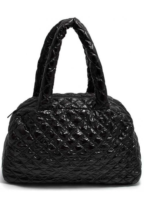 Лаковая женская сумка из ткани Poolparty Ns4 Black
