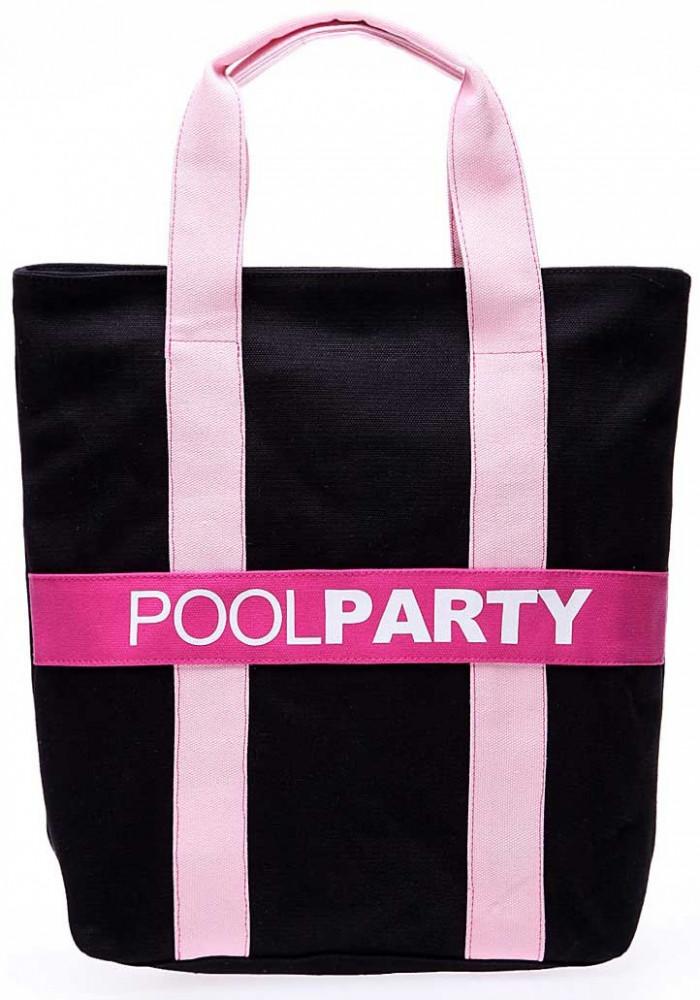 Сумка тканевая женская Poolparty Pool82 Black Pink