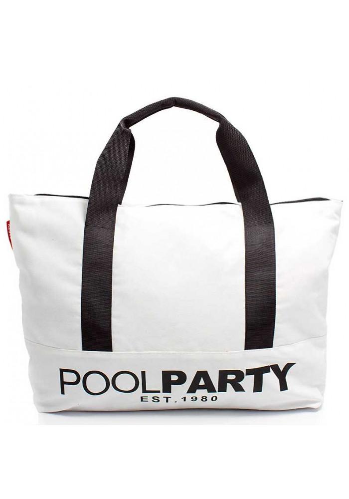 Сумка тканевая молодежная Poolparty Pool 12 White